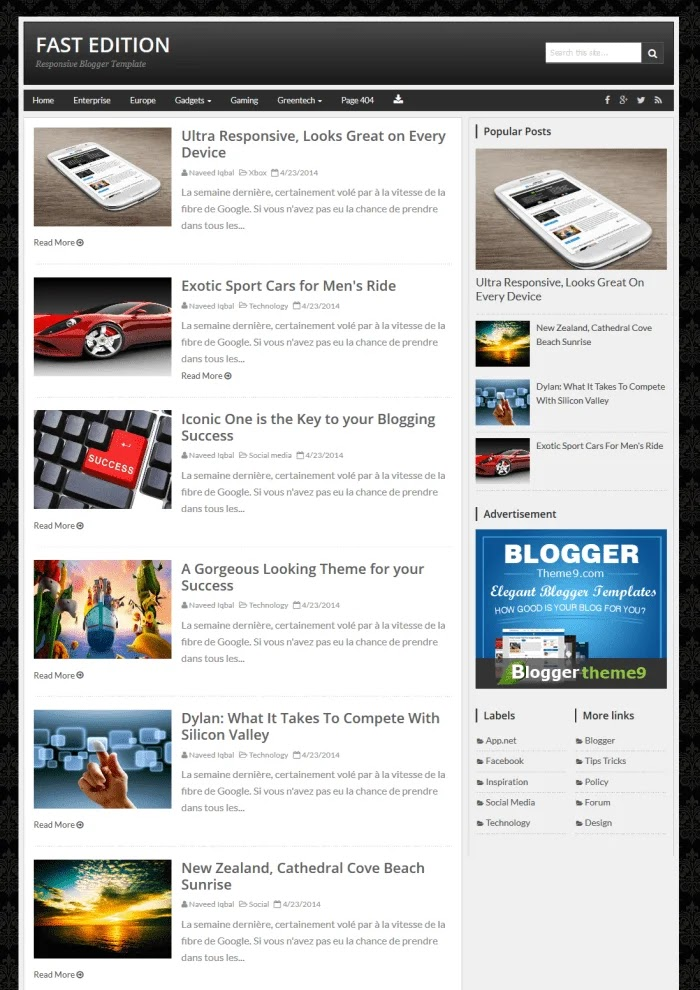 Fast Edition Fast Loading Blogger Templates