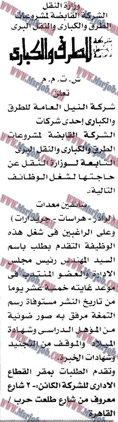 اعلان وظائف وزارة النقل لكافة المؤهلات والتقديم حتى 9 / 1 / 2018