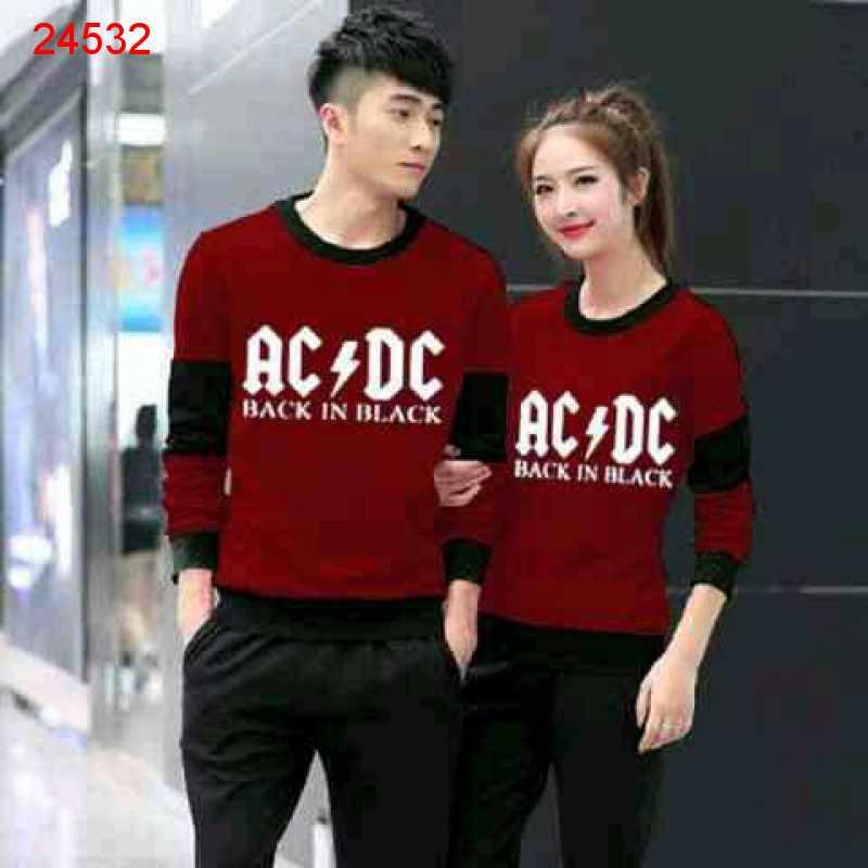 Jual Sweater Couple Sweater ACDC Maroon Black - 24532