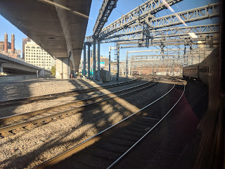 rolling out of South Station on the Franklin Line