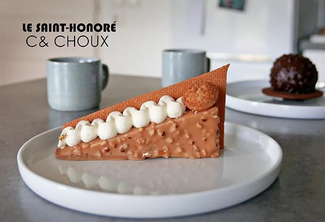 Saint Honoré de la Patisserie C&Choux à Caen avec en arrière plan la religieuse au chocolat