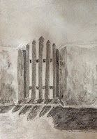 aquarelle graphite/pencil drawing and painting of a gate at Santorini