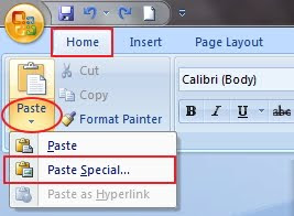 Paste special word