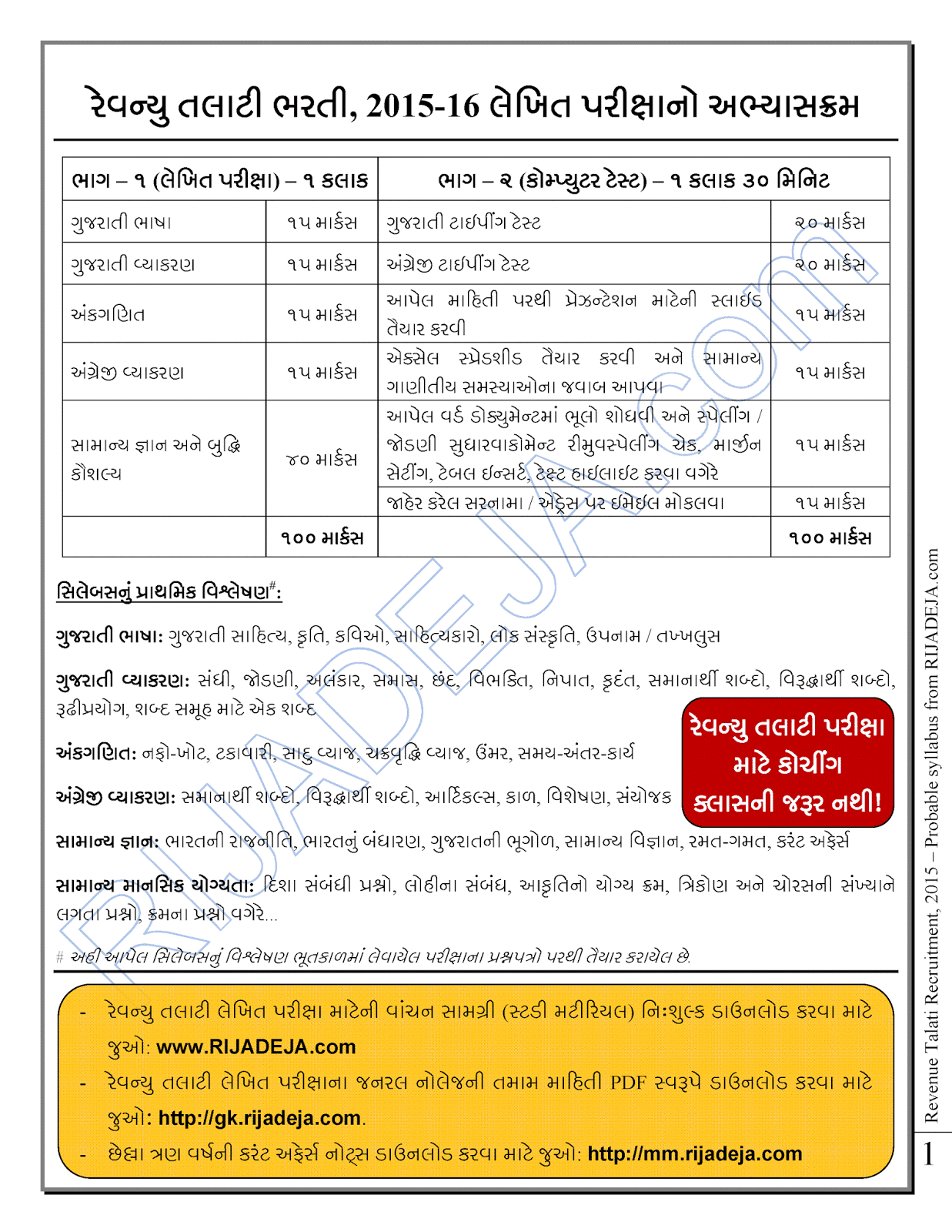 Revenue Talati Exam Paper Pdf