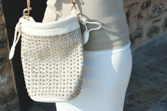 Studded white and beige bag