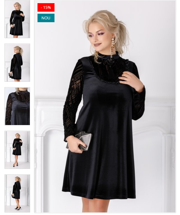 rochie scurta de revelion  din catifea neagra  catifea dantelata la bust si maneci  brosa la bust