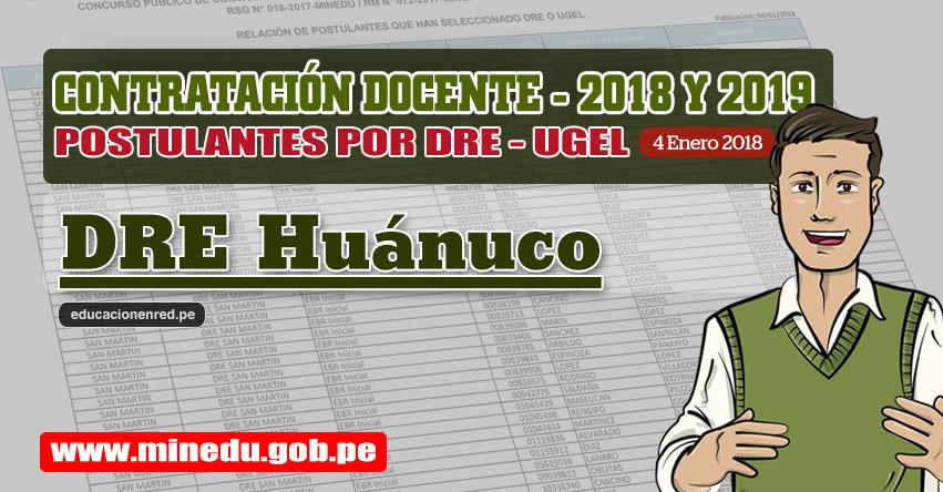 DRE Huánuco: Lista de Postulantes por UGEL DRE - Contrato Docente 2018 (.PDF) www.drehuanuco.gob.pe