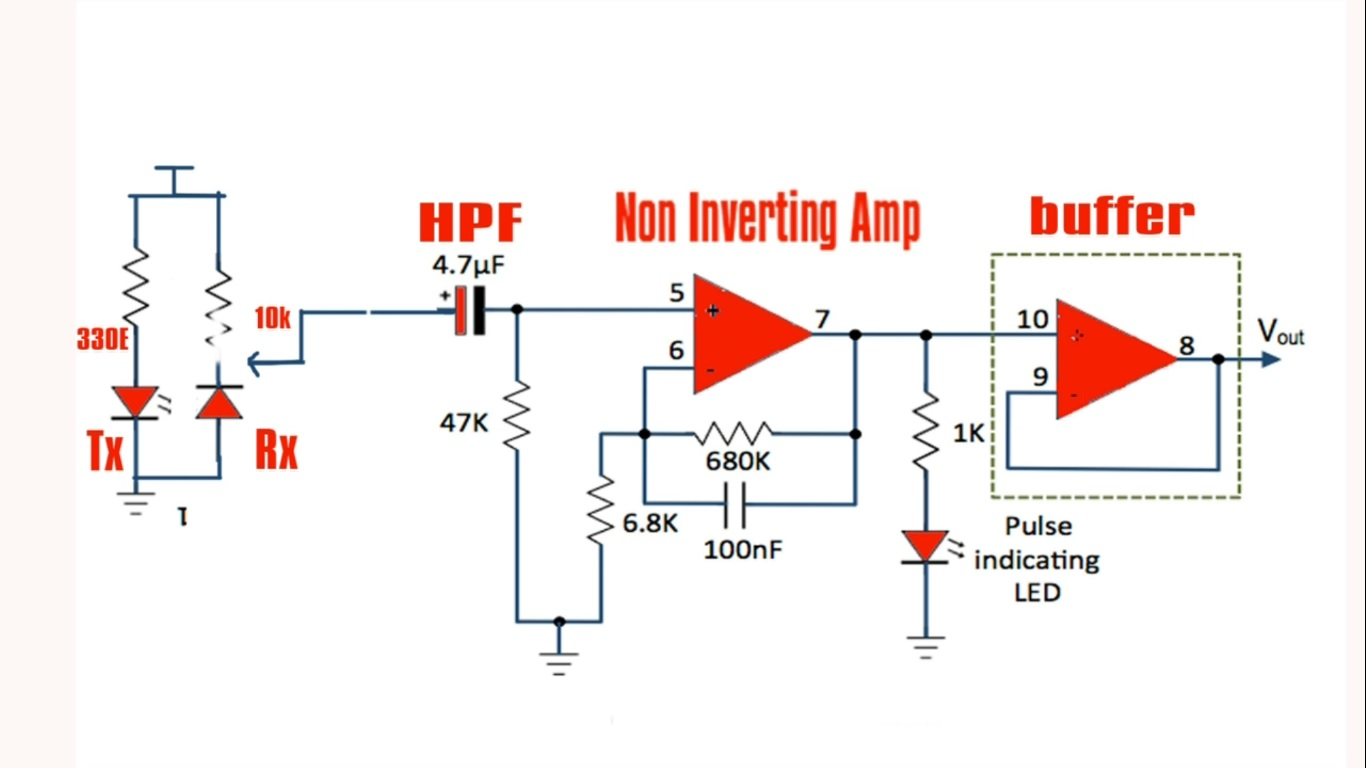 Heartbeat Sensor Techiesms Buffer Circuit Schematic Diagram
