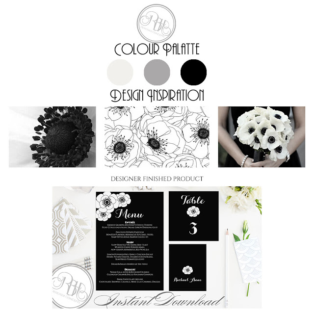 black and white anemone colour inspiration by rbh designer concepts