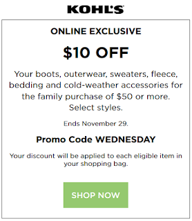 Kohls Cyber Sale coupon $10 OFF $50 Outerwear & Boots