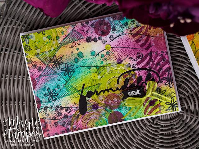 Cartes Stampin' Up! confectionnées avec le jeu d'étampes Gallery Grunge