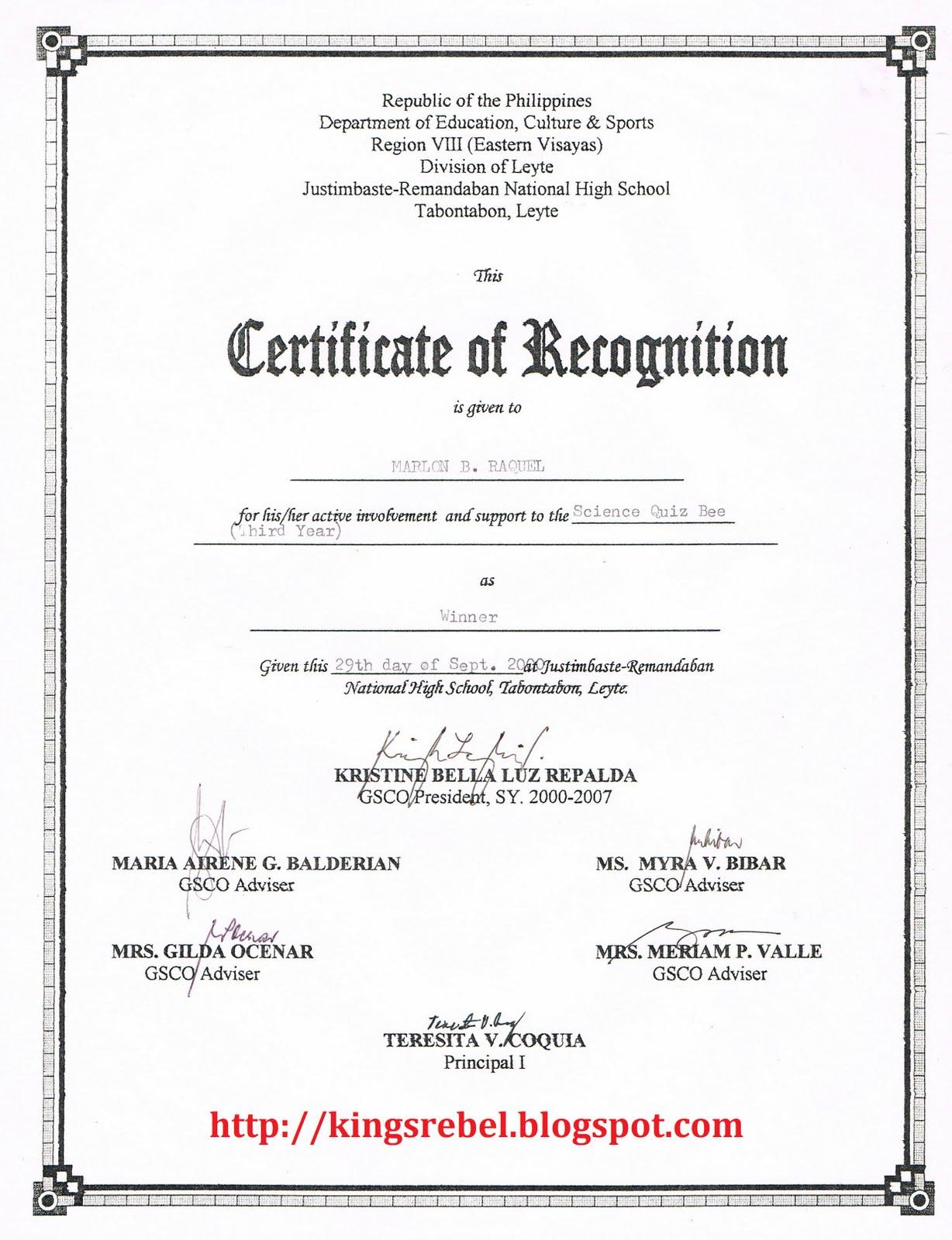 Sample Recognition Certificate Pertamini Co