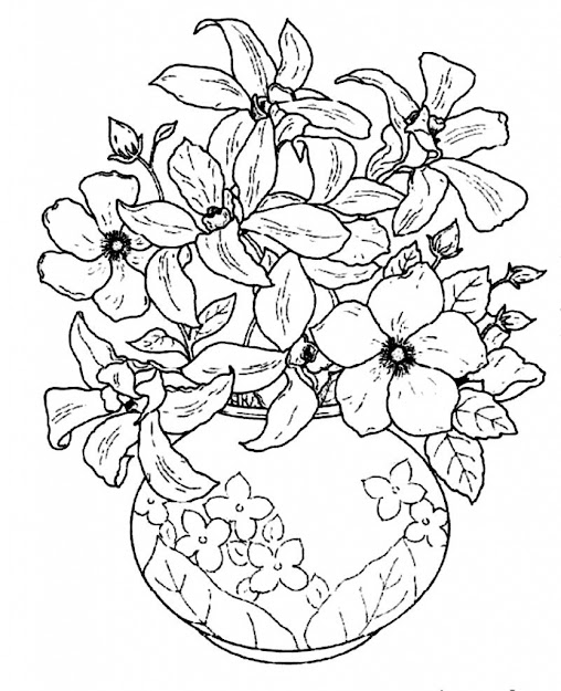 Photos Of The Flower Vase Coloring Page