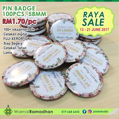 Promosi Raya cetakan button badge