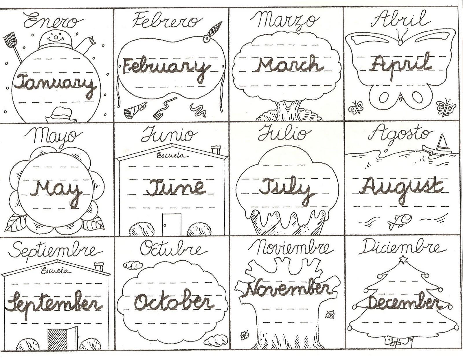 MIS COSITAS DE PROFE: Ficha meses del año