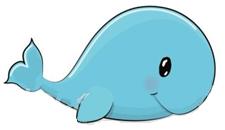 Imagem baleia do texto LOLA, A BALEIA AZUL, de Elisângela Terra