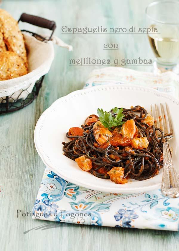 Potingues y fogones espaguetis al nero di sepia con for Espaguetis para dos
