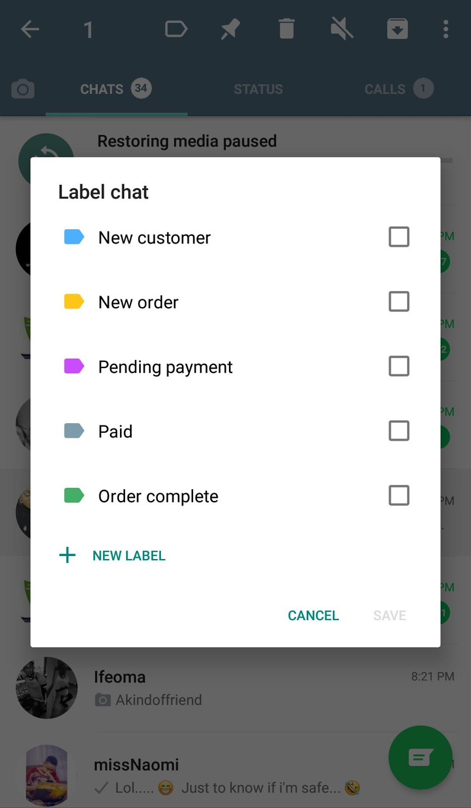 whatsapp business label feature