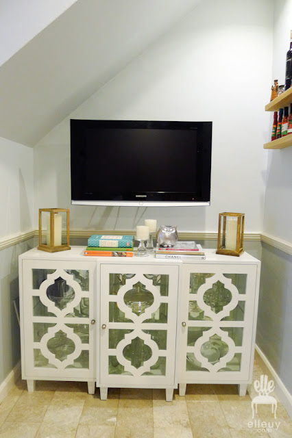 white chic media tv table cabinet with cut-out glass
