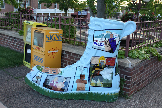 Boot art honoring occupations in Red Wing, Minnesota.