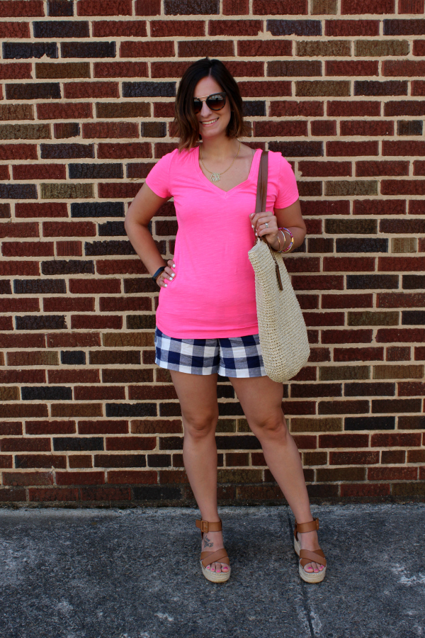 mom style, gingham shorts, neon pink