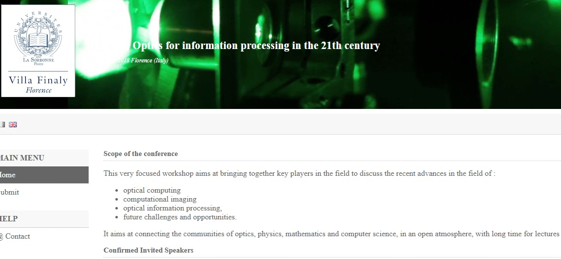 Nuit Blanche: CfP: OIP'21 : Optics for information processing in the