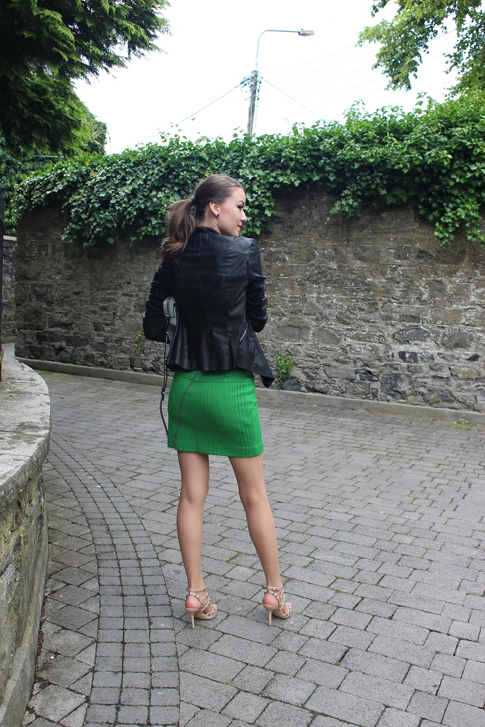 how to wear faux leather jacket and skirt