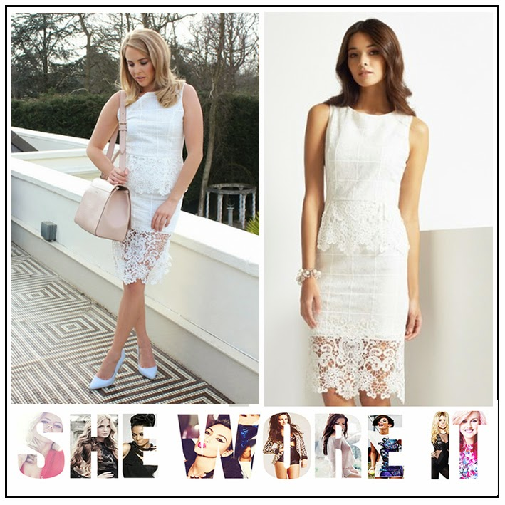 All Over Floral Lace, Celebrity Fashion, Celebrity Style, Cream, Lipsy, Lydia Bright, Peplum Waist Detail, Shift Dress, Sleeveless, The Only Way Is Essex, TOWIE, White,