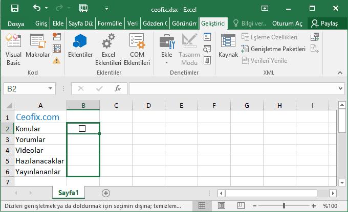 Excel yapılacaklar listesi - www.ceofix.com