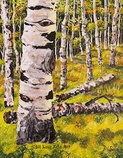 aspen art, tree art, birch tree painting