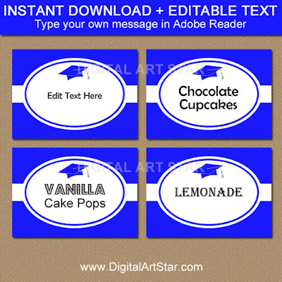 graduation food labels in royal blue and white