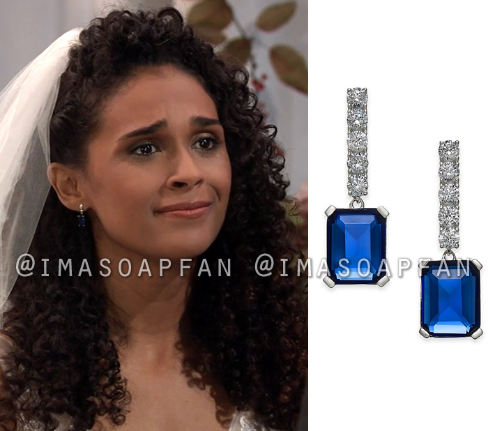 Jordan Ashford, Briana Nicole Henry, Blue Crystal Drop Earrings, General Hospital, GH