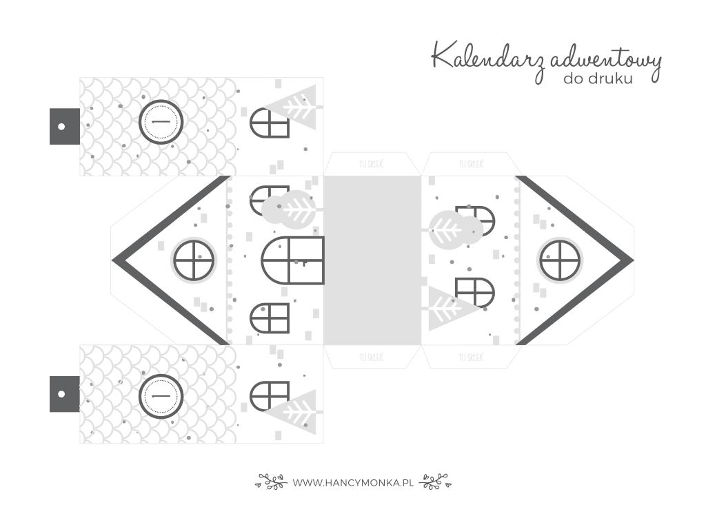 pobierz kalendarz adwentowy - domki w stylu scandi