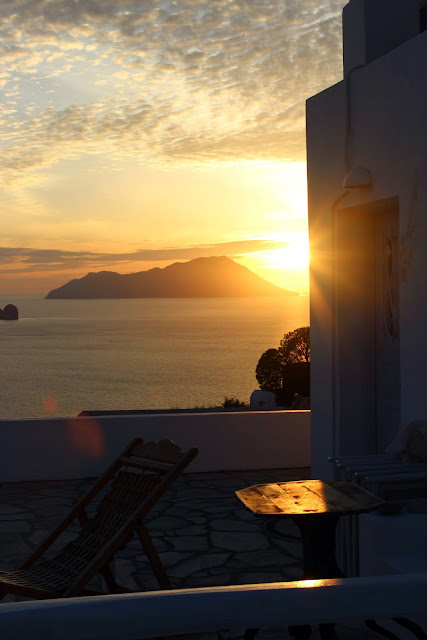 Greece, Milos, Plaka, Archondoula, Studios, view, sunset, beautiful, orange, architecture,