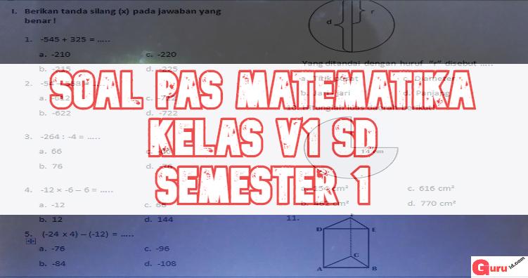 gambar soal pas matematika kelas 6 semester 1 edisi 2019-2020