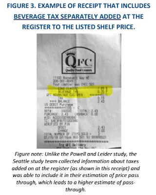QFC receipt from Seattle showing beverage tax applied to soda sale.