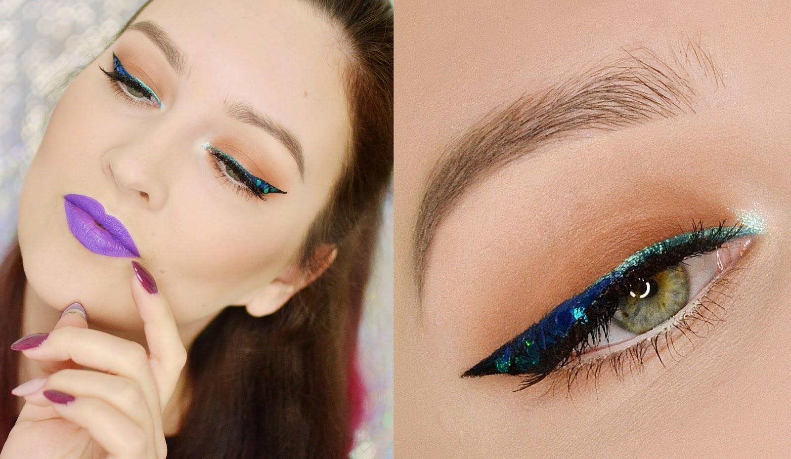 makijaż tutorial kreska glitter cekiny