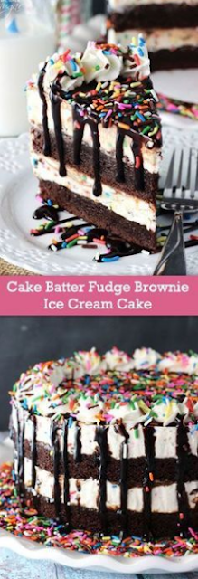 Cake Batter Fudge Brownie Ice Cream Cake
