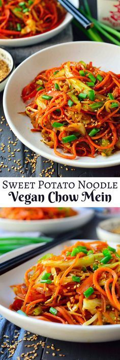 VEGAN CHOW MEIN SWEET POTATO NOODLES