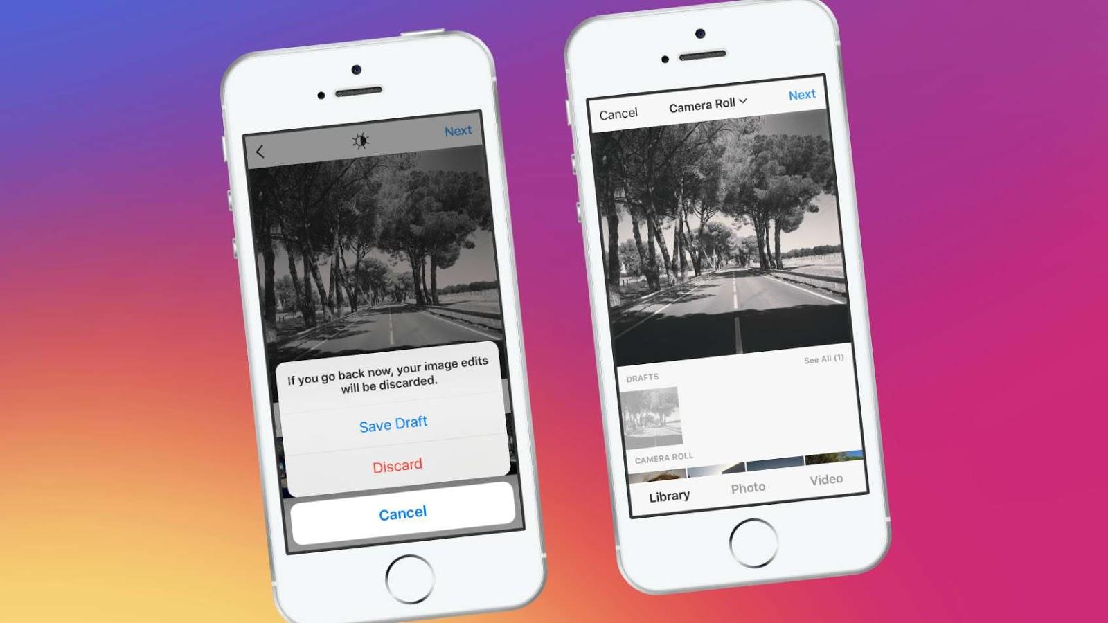كيفية حفظ او إزالة المسودات على Instagram