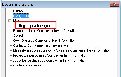 Listado de landmark roles de JAWS.  Dentro de la zona 'main' se lista una 'region': Region prueba region