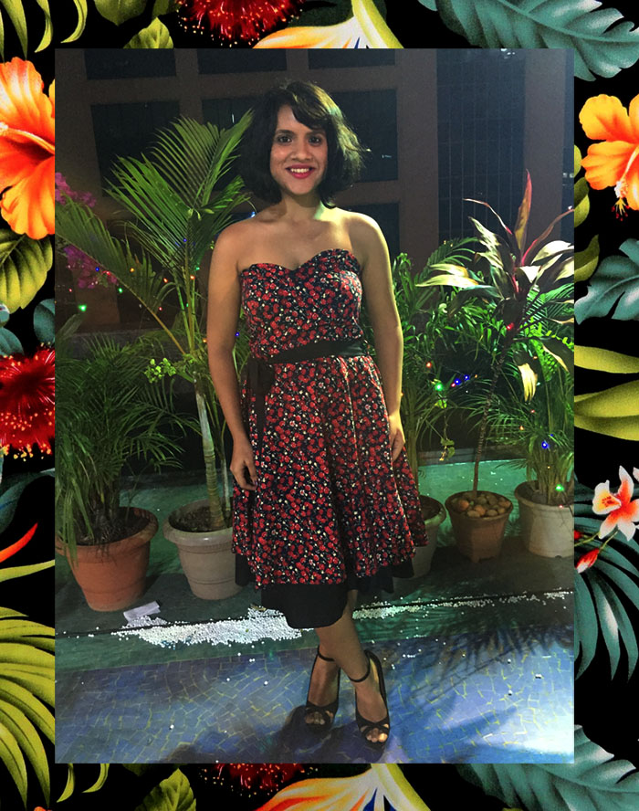 Dayle Pereira, the fashion blogger at Style File showcases her personal style in a Sharei La Mar printed strapless dress and Zara stilettos with a red lip