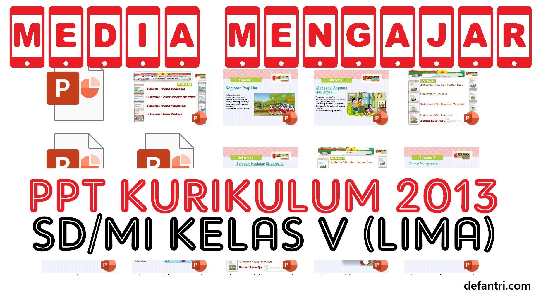 Download Media Pembelajaran PowerPoint Kurikulum 2013 Sekolah Dasar (SD) atau Madrasah Ibtidaiyah (MI) Kelas V (Lima) Semua Tema