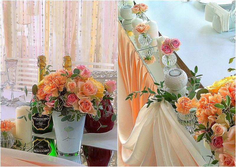 декор стола цветами и свечами
