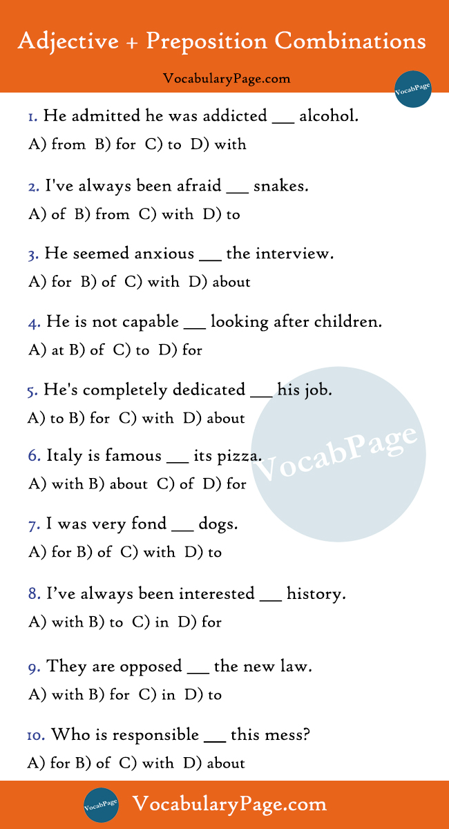 Adjective + Preposition Quiz