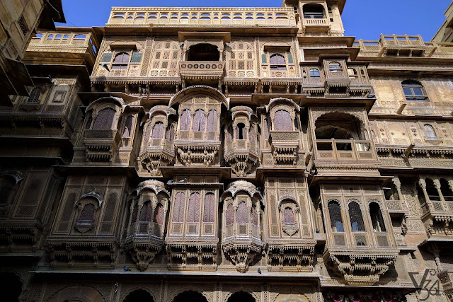 Elegantly crafted stone sculptured facades of the 2nd Haveli