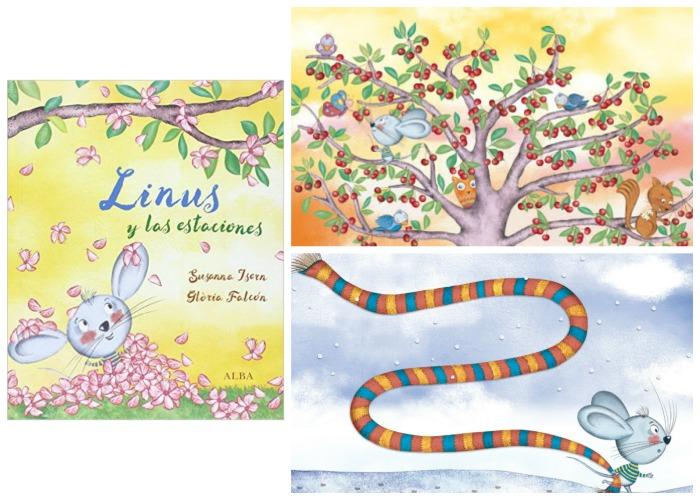 cuento infantil Linus y las estaciones Susanna Isern, primavera. Portada e interior
