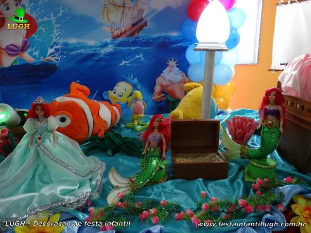 Mesa decorada A Pequena Sereia - Festa de aniversário infantil