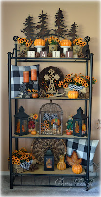 fall decorations on shelves