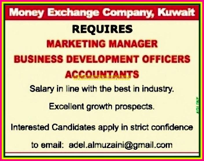 Money Exchange Company Job Vacancies For Kuwait
